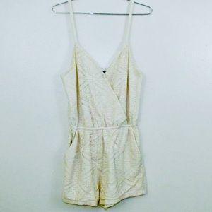 Forever 21 Pants - Forever 21 Cream/ White Crochet Romper Size Small